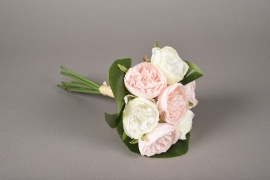 x625jp Bunch of 7 artificial white pink peony H23cm