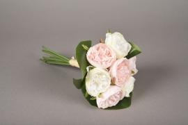 x625jp Bouquet de 7 pivoines artificielles rose crème H23cm