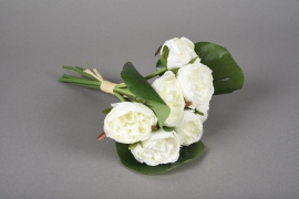 x626jp Bouquet de 7 pivoines artificielles blanc H23cm