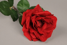 x628jp Artificial red curly rose H70cm