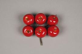 x629nn Boîte de 24 pommes artificielles rouge D3.5cm