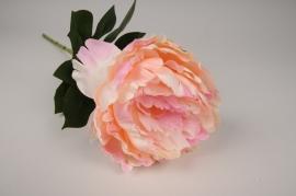 x631di Pivoine artificielle rose orangé H63cm