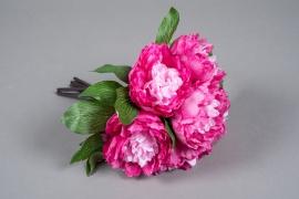 x631mi Bouquet de pivoines artificielles fuchsia H30cm