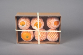 x643jp Artificials box of 6 oranges D7cm