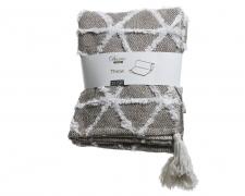 X649KI Plaid en coton gris blanc 130cm x 150cm