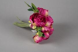 x657jp Bouquet de pivoines artificielles fuchsia H30cm