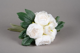 x659jp bunch of 5 artificial white peony H29cm