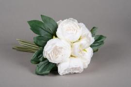 x659jp Bouquet de 5 pivoines artificielles blanc H29cm