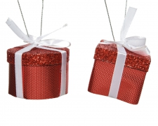X664KI Cadeau rouge assorti H10cm