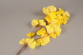 x667jp Branche artificielle de gingko jaune H90cm