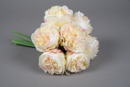 x681jp Bunch of 7 light yellow artificial peonies H30cm