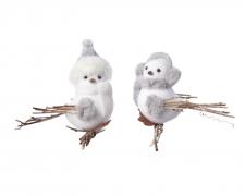 X687KI Oiseau blanc en mousse assortie H7cm