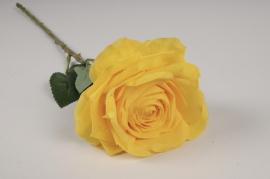 x701jp Rose artificielle jaune H53cm