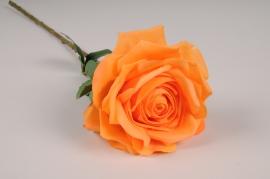 x706jp Rose artificielle orange H53cm