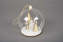 X731DQ Glass balls with wooden decoration D8cm