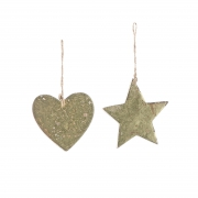 X738DQ Wooden christmas star or heart H9cm