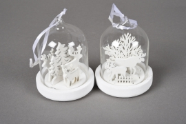 X75DQ Assorted glass bell with wooden christmas decoration D7cm