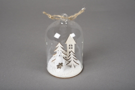X763DQ Glass bell with wooden christmas decoration D6.5cm