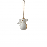 X764DQ White and gold wooden penguin H7cm