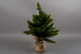 X772DQ Artificial Christmas tree and jute bag H60cm