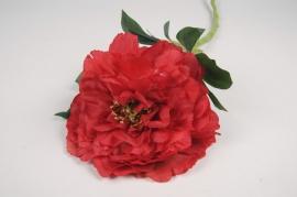 x834mi Pivoine artificielle rouge H60cm