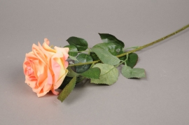 x865nn Rose artificielle pêche H64cm