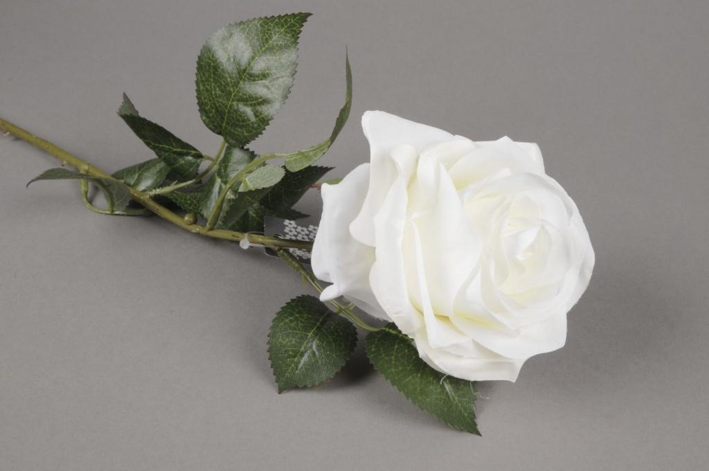 x937nn Rose Dijon artificielle blanche H64cm