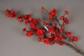 xx08mi Branche de prunus artificielle rouge H77cm
