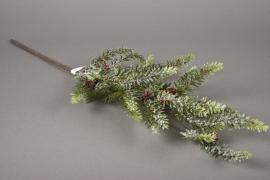 xx17ee Branche de taxus artificiel vert givré H60cm