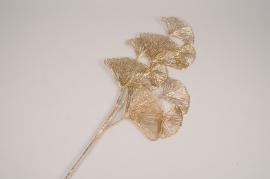 xx33ee Branche de ginkgo artificiel doré H78cm