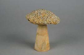 xx47fd Champignon en bois perlé or H15.5cm