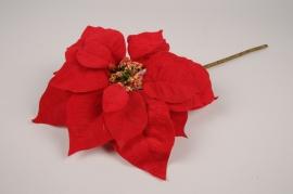 xx82di Poinsettia artificiel en velours rouge H65cm