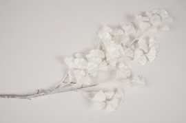 xx83di Branche de ginkgo artificiel blanc H87cm