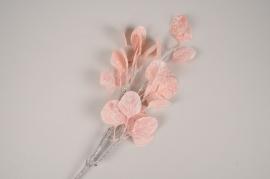 xx86di Branche d'eucalyptus artificiel givré rose H70cm