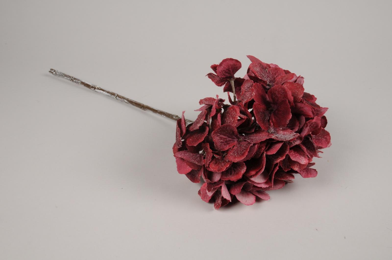 xy02di Hortensia artificiel givré bordeaux H49cm