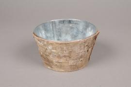 A124DZ Zinc and bark bowl D14cm H8cm