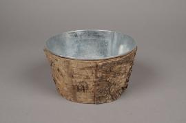 A125DZ Zinc and bark bowl D17.5cm H9.5cm