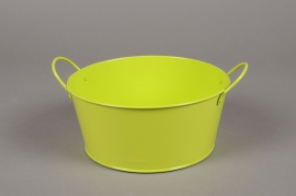 MU09WV Zinc bowl with green handles D19.5cm H9cm