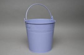 Zinc bucket blue lavender D21 H20cm