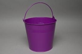 Zinc bucket bright blue lavender D18 H17cm