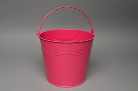 Zinc bucket bright fuchsia D18 H17cm