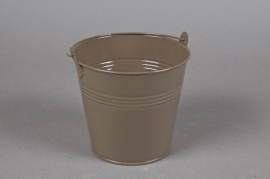 Zinc bucket brown D13cm H12cm