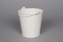 Seau en zinc ivoire D11 H10cm