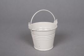 Zinc bucket ivory D6 H5,5cm